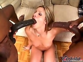 Lisa Marie fucked hard by two felonious monster cocks